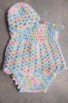 "Baby Dress Set. Size: 0-3 mos Materials Pink sport weight yarn White sport weight yarn ""I"" hook"