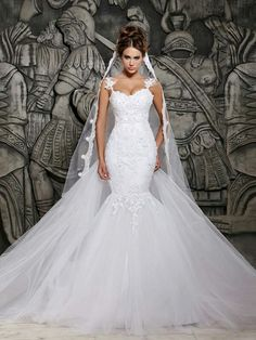 Trumpet/Mermaid Spaghetti Straps Sleeveless Beading Chapel Train Organza Wedding Dresses