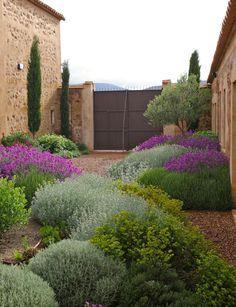 Antico casale con cipressi, cespugli di piante mediterranee e ulivi per creare un giardino rustico provenzale - Idee per progettare giardini rustici