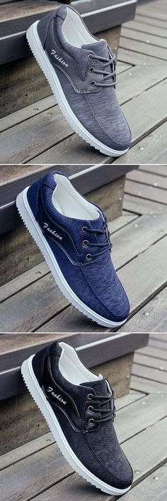 Men Fabric Splicing Breathable Flat Lace Up Sport Casual Shoes