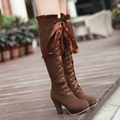 """Get on your hands & knees at my feet Mark Shavick!"" High-heeled martin boots velvet front with high boots korean round waterproof boots women s large size Knee High Heels, Chunky High Heels, Thigh High Boots, High Heel Boots, Knee Boots, Cute Shoes, Me Too Shoes, Women's Shoes, Golf Shoes"