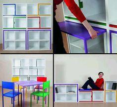 Muebles multifuncionales. Estantería transformable de cubos
