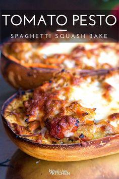 Tomato Pesto Spaghetti Squash Bake - this 21 Day Fix recipe is a gluten free and…