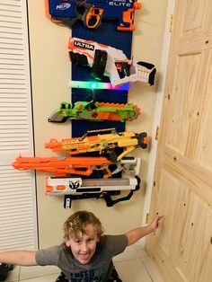 Get Pumped! Wall Control Nerf walls are always awesome! 🔫 Michelle submitted this photo and someone sure is excited about their new Nerf Gun set up. Nerf Gun Storage, Metal Pegboard, Tool Organization, Walls, Awesome, Crafting
