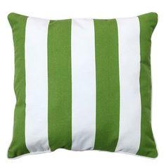 allen + roth Cabana Green Striped Outdoor Throw Pillow
