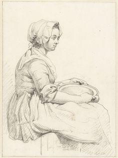 """1763 - 1826. """"Zittende vrouw met een schotel op haar schoot, naar rechts"""" (Seated woman with a saucer on her lap, facing right) by Abraham van Strij. Notice the ties on the apron at buttocks level."""