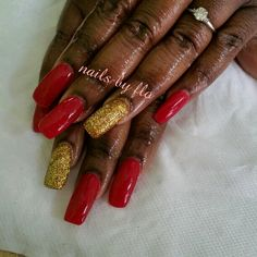 Red & gold acrylic nails