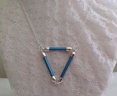 Hey, I found this really awesome Etsy listing at https://www.etsy.com/au/listing/249187690/geometric-necklace-blue-triangle