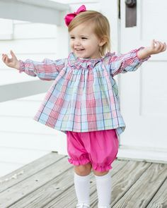 Rainbow+Plaid+Bloomer+Set+-+Precious+bloomer+set+with+long+sleeve+top.++Top+has+ruffle+collar.++Solid+hot+pink+bloomers+have+elastic+at+waist+and+at+leg+openings.