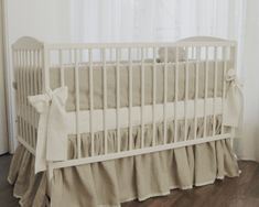 Linen Crib nursery bedding - gathered skirt and 4 side bumper. $230.00, via Etsy.