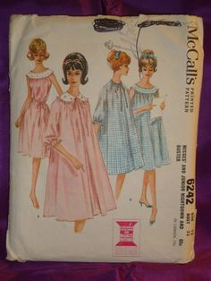 "This 1962 vintage McCall's pattern is in very good used condition with all pieces and instructions included. The measurements for this vintage Misses' size 12 are given as Bust 32 inches Waist 25 Hip 34 or METRIC Bust 81 Waist 64 Hip 87. The description on the back of the envelope reads: ""Misses' Nightgown and Duster: Yoked nightgown and matching duster. Gown is gathered to faced yoke at back and front. Sheer gown is lined, has lace edging in yoke seams, bound armholes. Yoke and armholes of…"