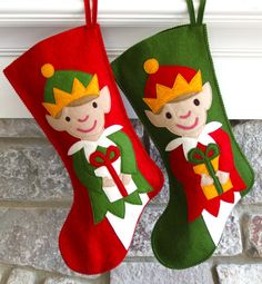 Handmade Wool Felt Christmas Stocking: Celebrate with an Elf at the Holidays!