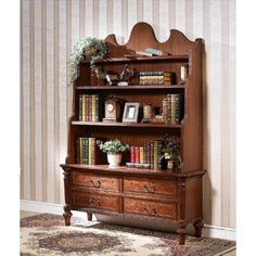 Astoria Grand Standing wood bookcase, antique design, with horizontal layout. Natural veneer with wood finish. Cube Bookcase, Etagere Bookcase, Bookshelves, Living Room Sets, Living Room Furniture, New Room, Painted Furniture, Sweet Home, Room Decor