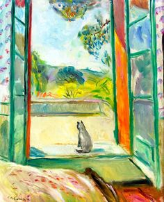 Charles Camoin (French, 1879-1965). The cat by an open window (Aix-en-Provence).