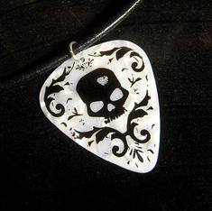 black & white damask skull guitar pick necklace, foil stamped