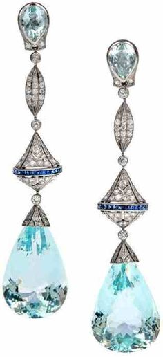 Aqua diamond & sapphire platinum drop earrings
