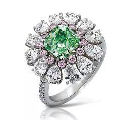 One of Nirav Modi's personal favourites: a green diamond ring set with a 1.50ct fancy vivid yellow-green diamond, 13 pink diamonds and 12 pear-shaped diamonds.