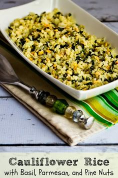 If you like the taste of fresh basil, you'll love this Cauliflower Rice with Basil, Parmesan, and Pine Nuts.  This  #LowCarb and #GlutenFree recipe is perfect for #MeatlessMonday.  [from KalynsKitchen.com]
