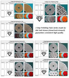 3 Step Polishing Pads Series; 3 Step Wet Pad, 3 Step Dry Pad, 3 Step Hybri Wet & Dry Pad, 3 Step Engineered Stone Pad  ~ High quality polishing pads deliver to worldwide within 2 ~ 5 days. Engineered Stone, Granite, Stones, Marble, Rocks, Stone, Marbles