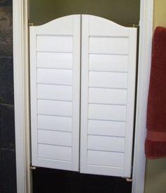 Doors to laundry room Walking Closet, Upstairs Bathrooms, Basement Bathroom, Room Closet, Closet Doors, Swinging Doors Kitchen, Bathroom Colors Gray, Door Alternatives, Cafe Door