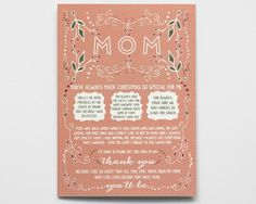Pregnancy Reveal Christmas Card: Tell Mom she's going to be a grandma! By WrittenInDetail on Etsy