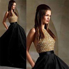 Long Black Gold Halter Sparkle Inexpensive Evening Party Prom Dresses, PD0023