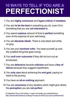 10 Ways to tell if you're a perfectionist...Manifesto by the Personal Excellence Blog #EscapePerfectionism
