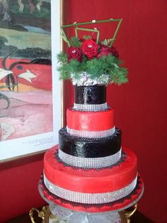 Goth red velvet cake. Red and black with roses and silver sequins