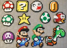 Awesome Mario Necklaces/Magnets/Keychain! This listing is for 1 necklace or 1 Magnet in the color combinations shown or a custom order! If you