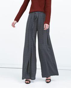 PRINTED WIDE - LEGGED TROUSERS - Trousers - WOMAN | ZARA United States