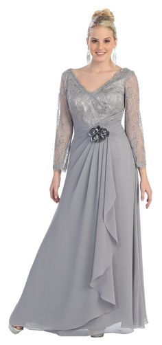 Long Sleeve V Neck Lace Floor Length Mother Of Bride Ruffles Plus Size Formal