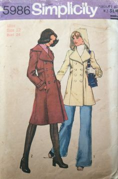 I had a coat like this in the Vintage Patterns, Sewing Patterns, Fashion Books, 1970s, Evernote, Coat, Fictional Characters, Drawings, Sewing Coat