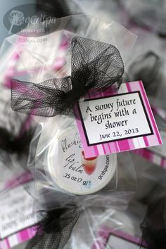 Custom #Bridal #Shower Favors with blushing #bride lip balms and #personalized tags