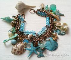 Ozean-Armband, Meer Strand inspiriert, Schmuck, Shell, Fisch, Seepferdchen, Star Fish, Grünspan-Patina, Damen Vintage-Stil Armband
