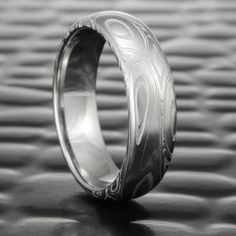 Domed 6mm Wide Damascus Steel Wedding Ring   EDDY & POOLS