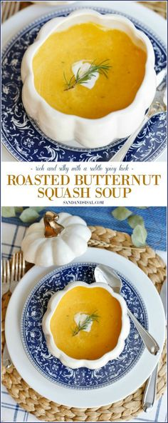 Roasted Butternut Squash Soup - rich and silky with a subtle spicy kick. #butternutsquashsoup #soups #thanksgivingsides