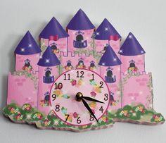 Princess Castle Wooden WALL CLOCK for Girls by LittleMonkeyDoodles, $45.00