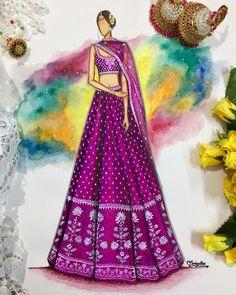 Indian Illustration, Dress Illustration, Fashion Illustration Dresses, Fashion Illustrations, Fashion Design Books, Fashion Design Drawings, Fashion Sketches, Anita Dongre, Dress Design Drawing
