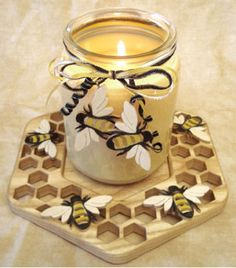 SLD359 - Honeycomb and Bee Candle Tray