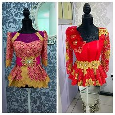 Extra dressy lace peplum blouses, they have matching skirts. Pink and gold / red and gold which would you wear? It all depends on the occasion  #trendsetter #myuniquepeplum #Kathyanthonytrends #kathyanthonydesigns