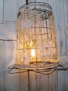 Shabby chic wallpaper images of shabby chic buffet and for Doily light fixture