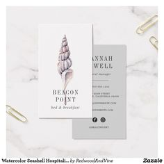 Special delivery gifting serviceevent planner business card watercolor seashell hospitality business card reheart Image collections