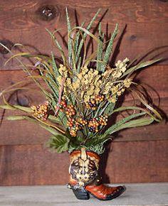 Handmade Western Decor Floral Flower Arrangement Cowboy Boot | eBay