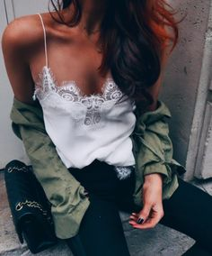 army green shirt + white lace cami + denim