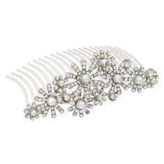 ACCESSORIESFOREVER Women Bridal Wedding Jewelry Crystal Rhinestone Elegant MidSize Floral Hair Tiara Comb * Read more at the image link. #hairideas