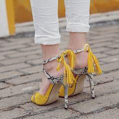 Heel Height:10cm ✧(≖ ◡ ≖✿ Color Block Cross Straps Dress Sandals