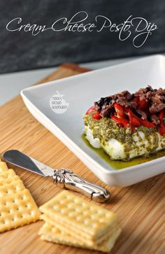 Cream Cheese Pesto Dip | Renees Kitchen Adventures Super EASY appetizer perfect for the holidays or anytime!