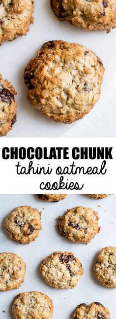 These chocolate chunk tahini oatmeal cookies are made with only a handful of ingredients and are naturally vegan, and refined sugar-free. They're finished off with some 70% dark chocolate chunks and sprinkled with sea salt for a delicious snack or treat!