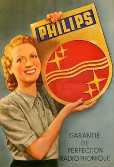 Vintage Advertising : Philips Radio-phonic Perfection 1950s  original vintage poster listed on Antik