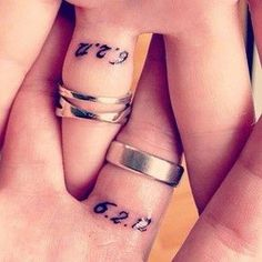 Wedding date tattoos - Although they have wedding rings, they also had their wedding dates tattooed on their ring finger. Dates and numbers are just as important with names. #TattooModels #tattoo